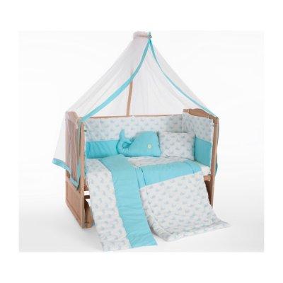 Heyner Ahşap Organik Anne Yanı 3 Kademeli Lüx Bebek Beşiği 60 x 120 cm - Mavi Balina Uyku Setli & Soft Yataklı
