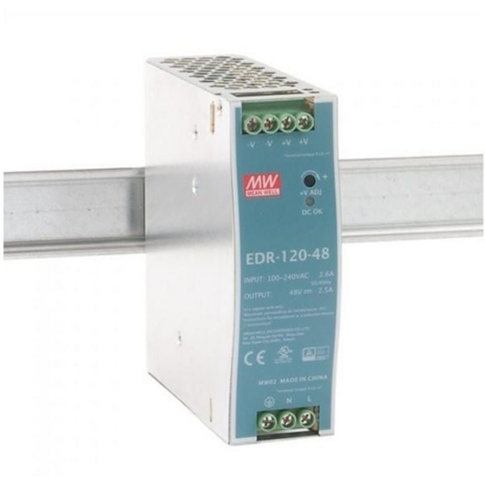 OEM AC-DC Industrial DIN rail power supply; Output 48V at 2.5A; metal case