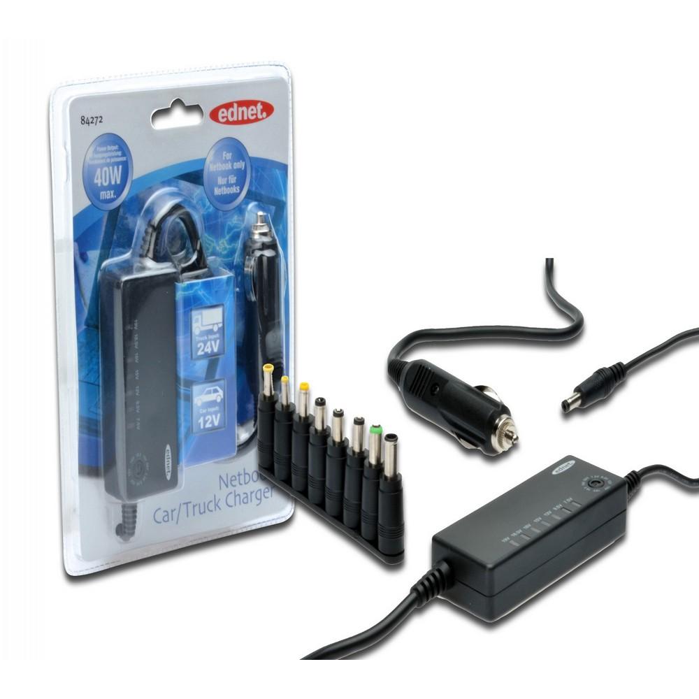 Ednet Netbook İçin Şarj Cihazı, 8 farklı adaptör fişli, giriş 12V/24V, çıkış 40W, araç için ideal