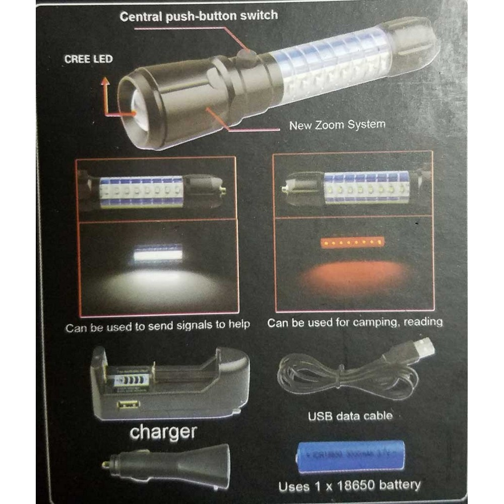 SkyGO GS-9880 Zoomlu Şarjlı Işıldak El Feneri
