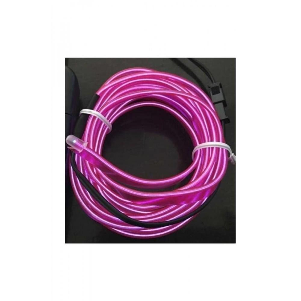 Femex Aydınlatma Yeri Torpido Aydınlatma 3 Metre Elwire İp Neon Led Fitili - Mor(Lila)