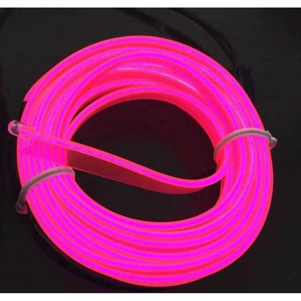 Femex El Wire Neon Led Pembe 3 Metre Dc12V İnverter Dahil