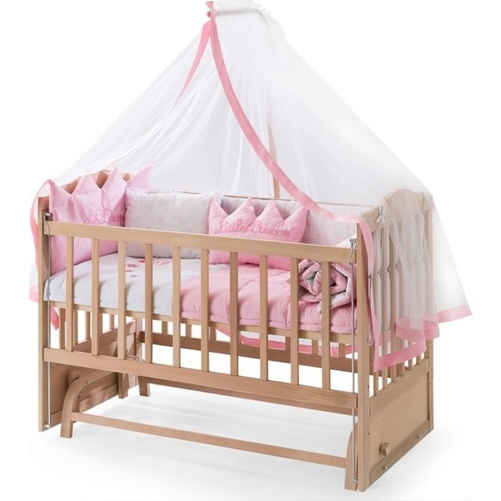 Heyner Ahşap Organik Anne Yanı 3 Kademeli Lüx Bebek Beşiği 60 x 120 cm - Pembe Prenses Uyku Setli & Soft Yataklı