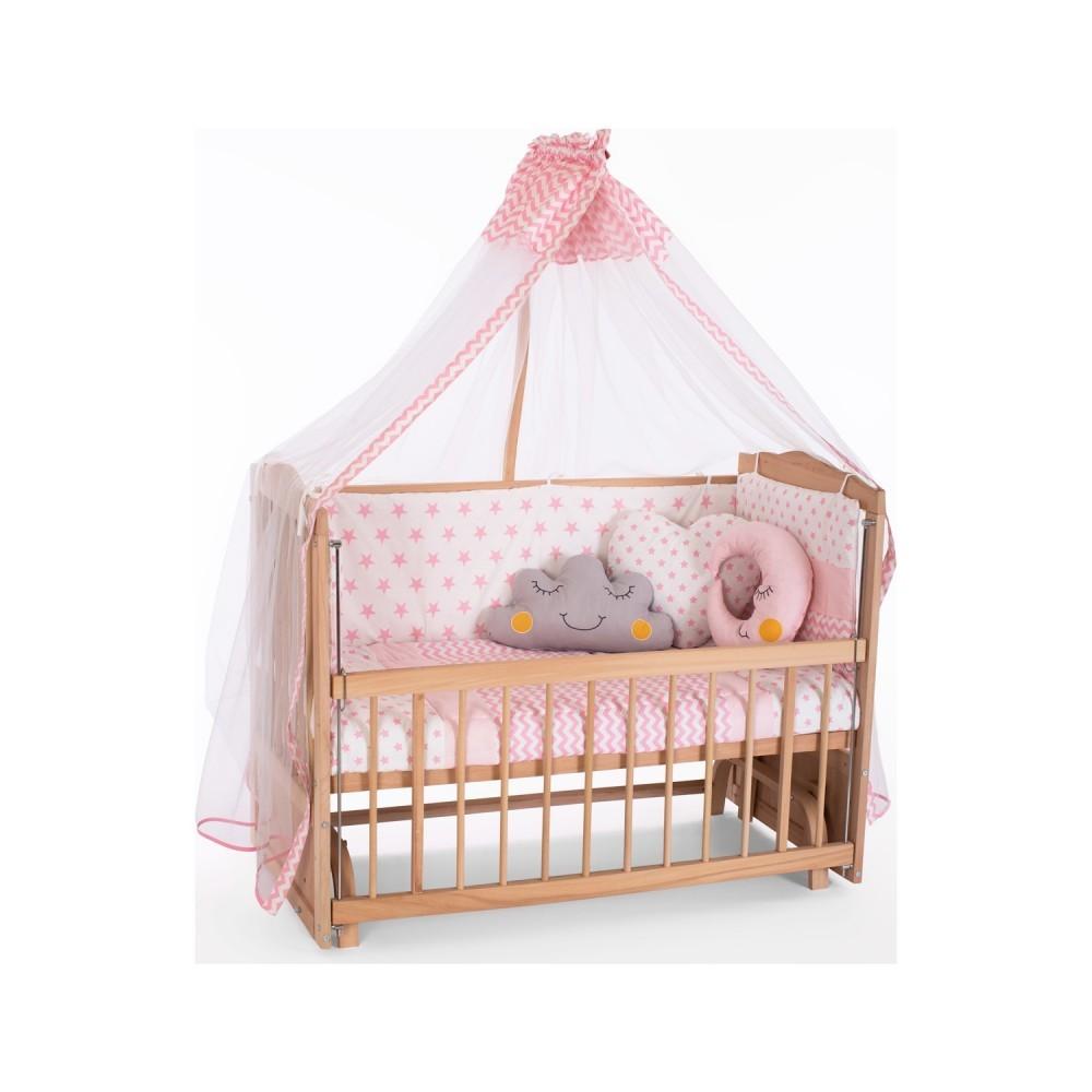 Heyner Ahşap Organik Anne Yanı 3 Kademeli Lüx Bebek Beşiği 60 x 120 cm - Pembe Yıldız Uyku Setli & Soft Yataklı