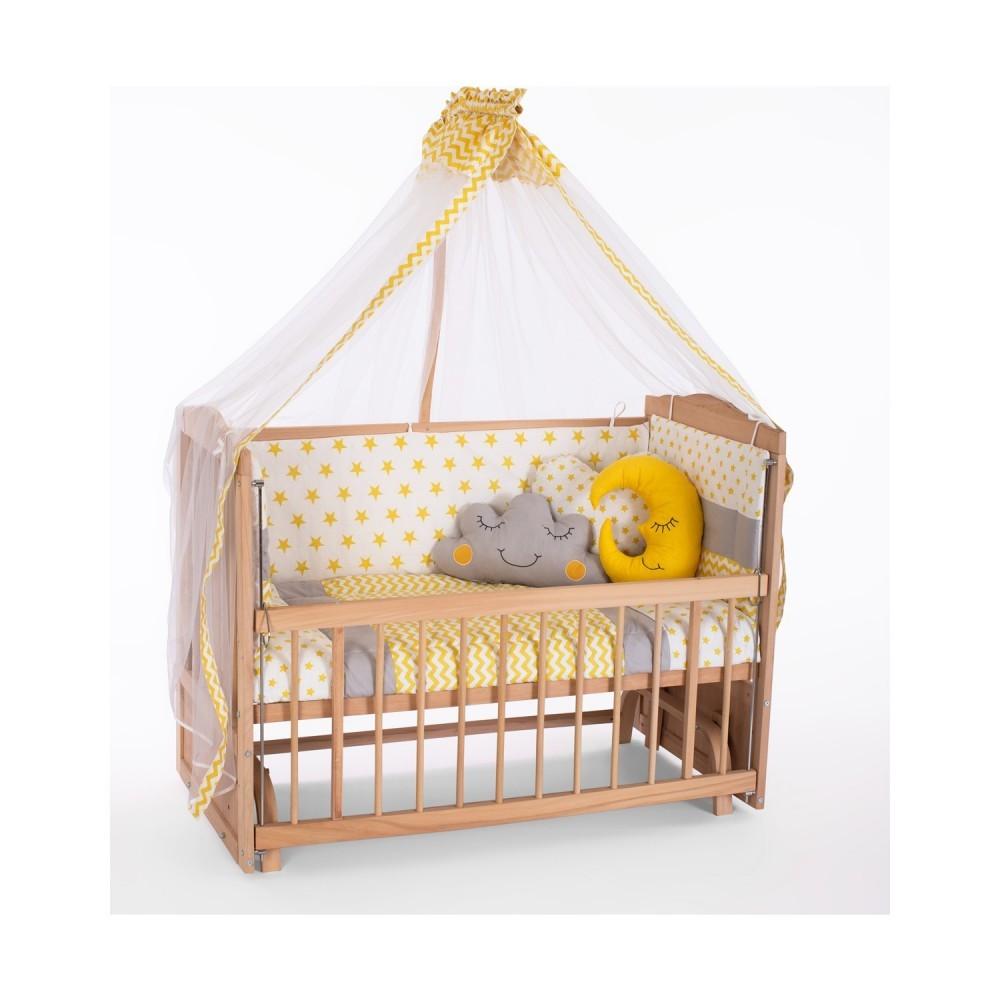 Heyner Ahşap Organik Anne Yanı 3 Kademeli Lüx Bebek Beşiği 60 x 120 cm - Sarı Yıldız Uyku Setli & Soft Yataklı