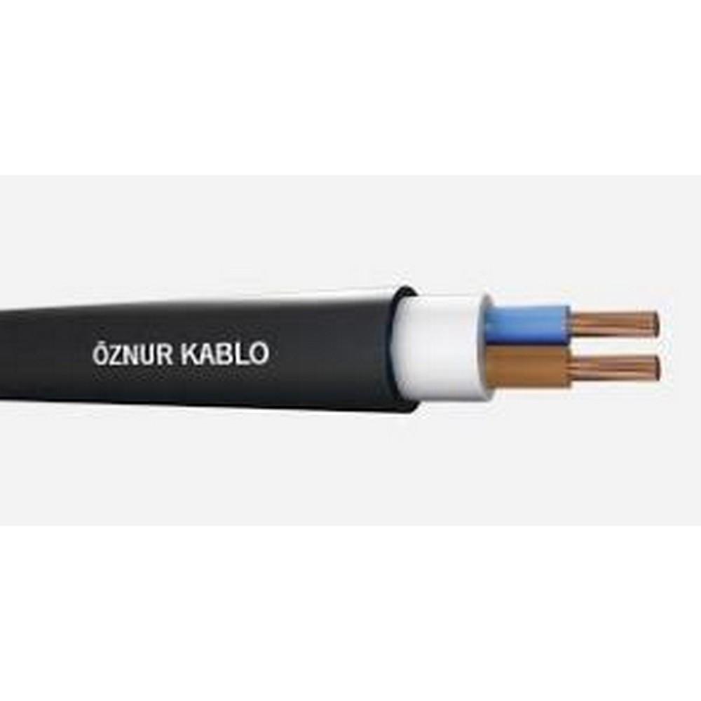 Öznur NYY 2X1,5 mm² Yeraltı Kablosu  Siyah Renk