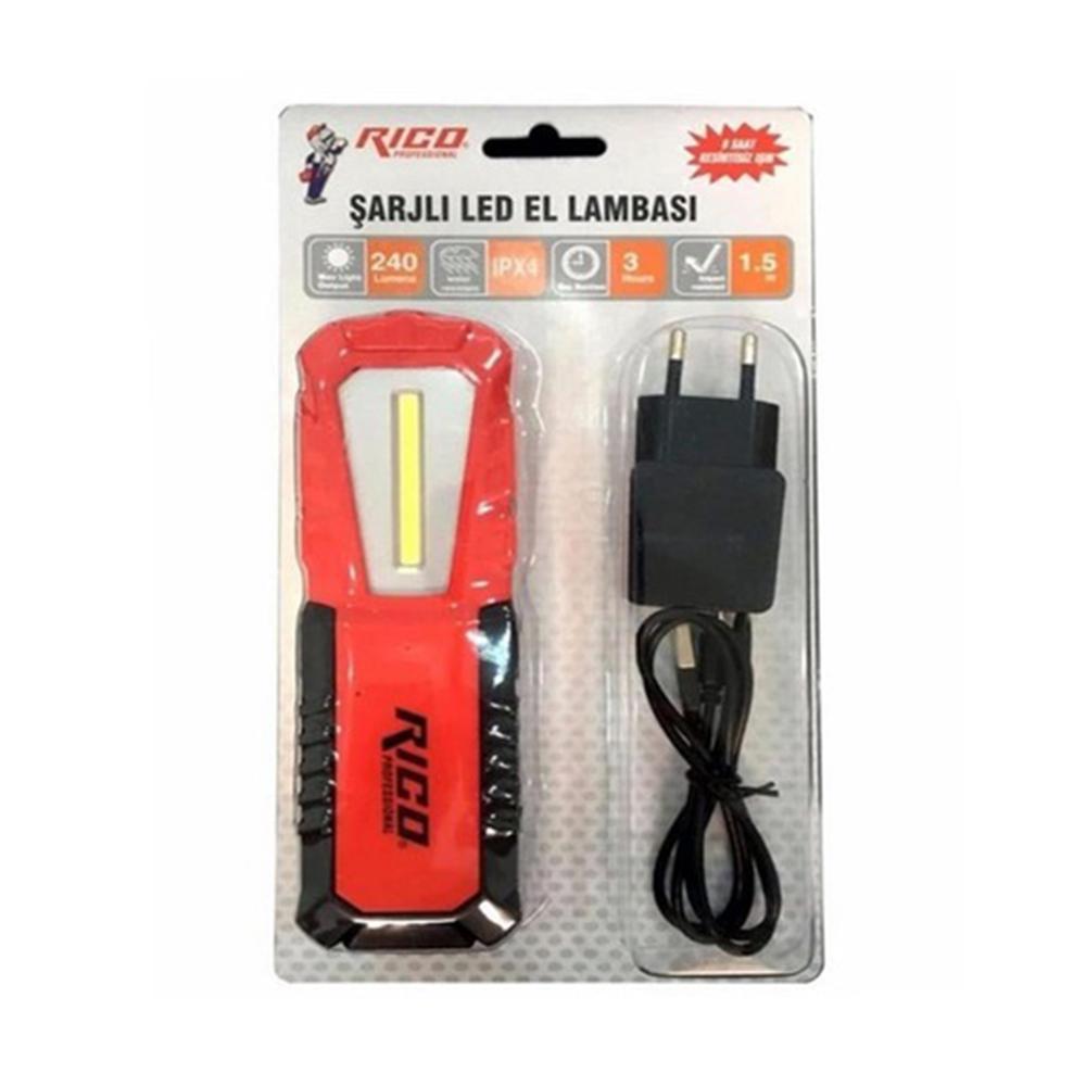 Rico USB Şarjlı Led El Lambası Mıknatıslı RC0037