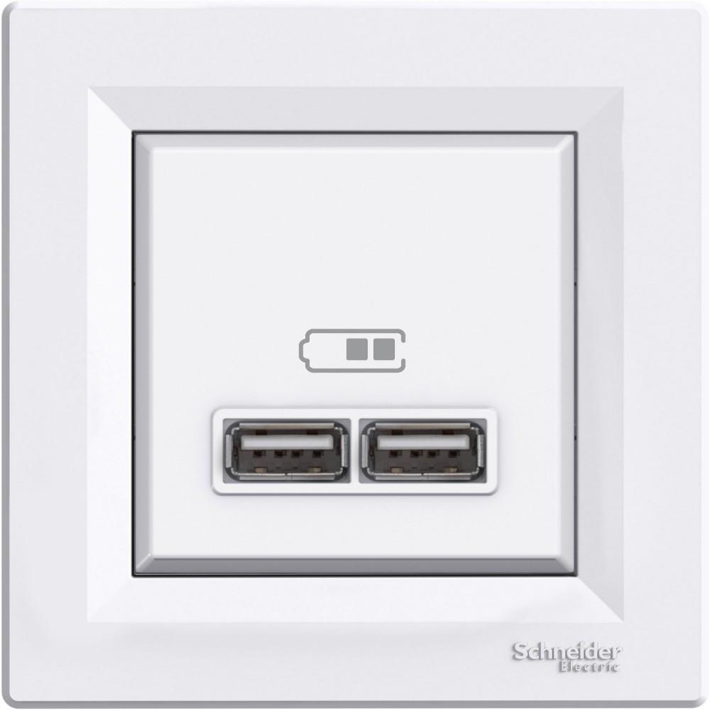 Schneider Electric Asfora USB prizi, 2.1A Çerçeveli-Beyaz