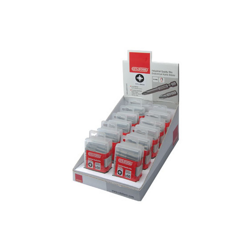 Ceta-Form 500 Parça 1/4 Pozidriv Bits Uç Teşhir Paketi CB/352 PZ2 x 25 mm