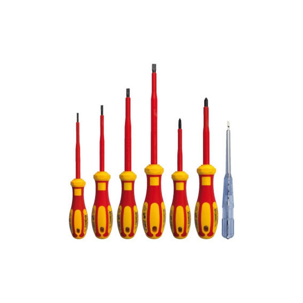 Ceta Form 7 Parça C-PLUS 1000V İzoleli Tornavida Takımı VDE Onaylı Düz Yıldız Kontrol Kalemi