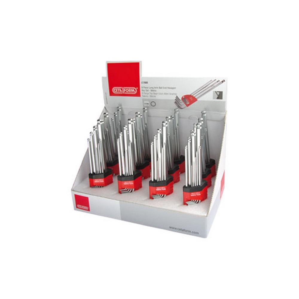 Ceta Form LT/900 Topbaşlı L Allen Anahtar Takımı Teşhir Seti 12 x LT/900