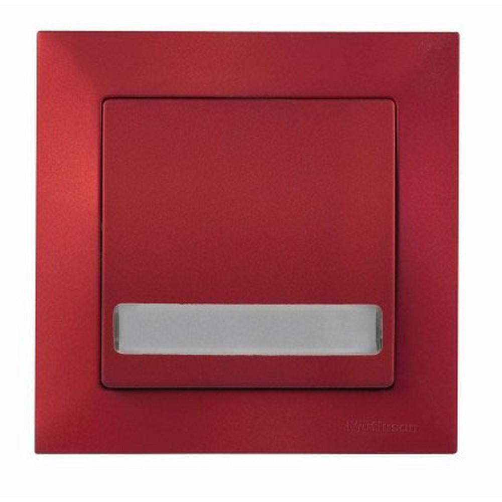 Mutlusan Candela Işıklı Etiketli Anahtar 220V Bordo