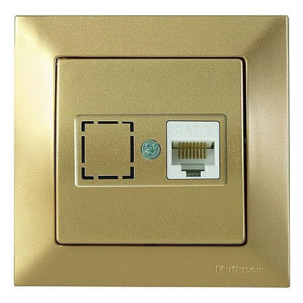 Mutlusan Candela Telefon Prizi 1*RJ12 CAT3 Antik Altın