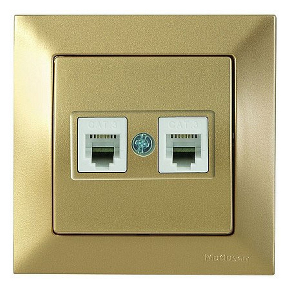 Mutlusan Candela Telefon Prizi 2*RJ12 CAT3 Antik Altın
