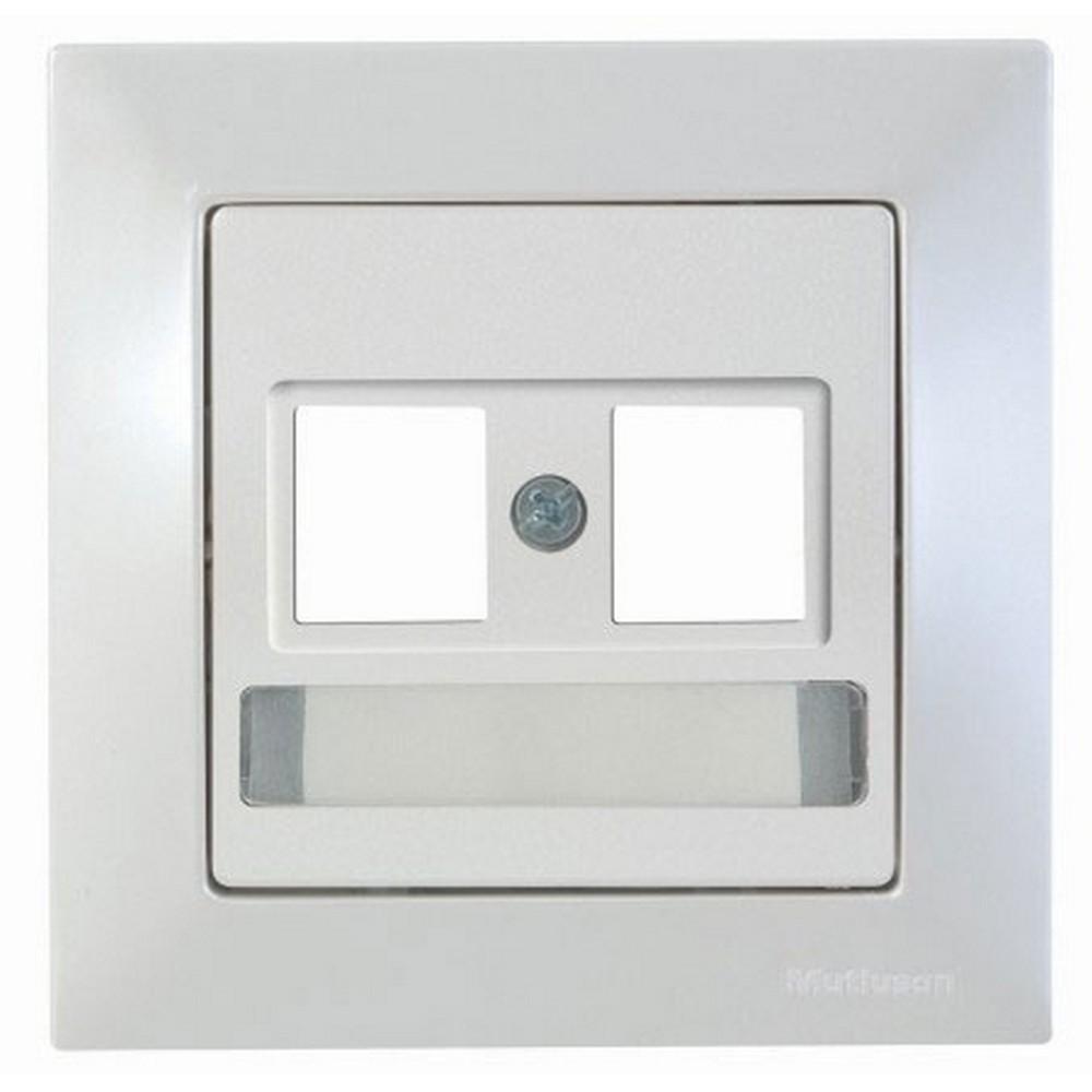 Mutlusan Candela Etiketli Telefon Data Priz Konnektörsüz Sedefli Beyaz
