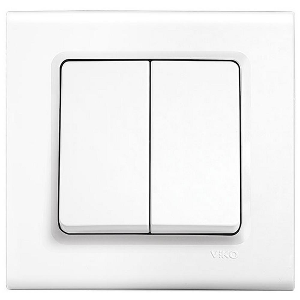 Viko Linnera/Rollina Sıva Altı Dual Anahtar - Beyaz (Çerçevesiz)