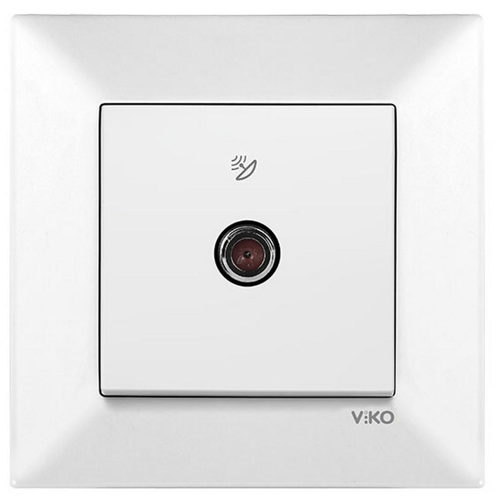 Viko Karre/Meridian Sıva Altı Uydu Prizi F konnektörlü Sonlu - Beyaz (Çerçevesiz)