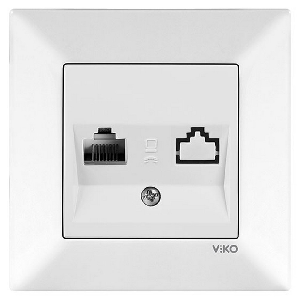 Viko Karre Sıva Altı Nümeris Telefon Prizi (RJ11) - Beyaz (Çerçeveli)
