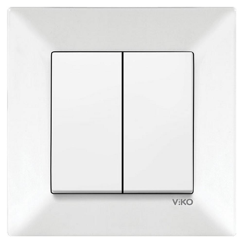 Viko Karre Sıva Altı Dual Anahtar - Beyaz (Çerçeveli)