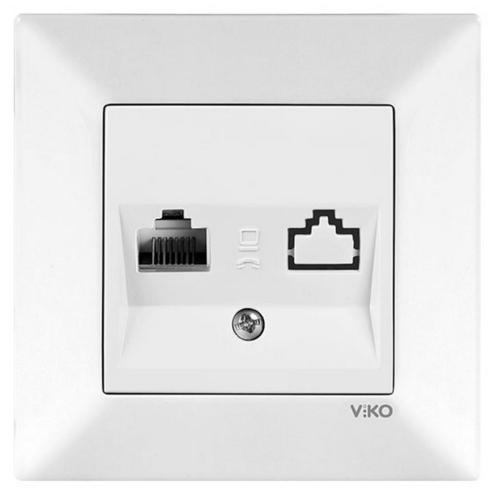 Viko Karre/Meridian Sıva Altı Tekli Data Prizi (RJ45 Cat6) - Beyaz (Çerçevesiz)