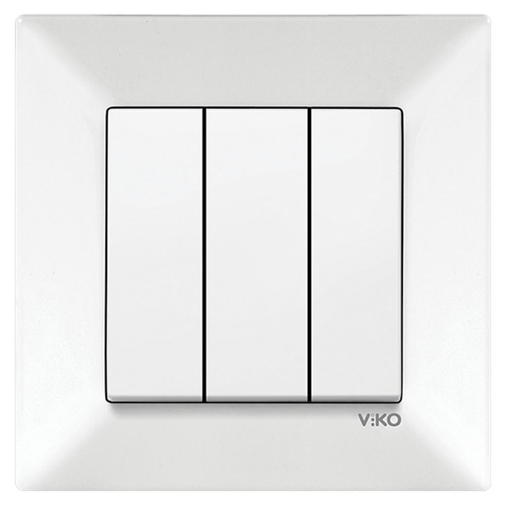 Viko Meridian Sıva Altı Üçlü Anahtar - Beyaz (Çerçeveli)